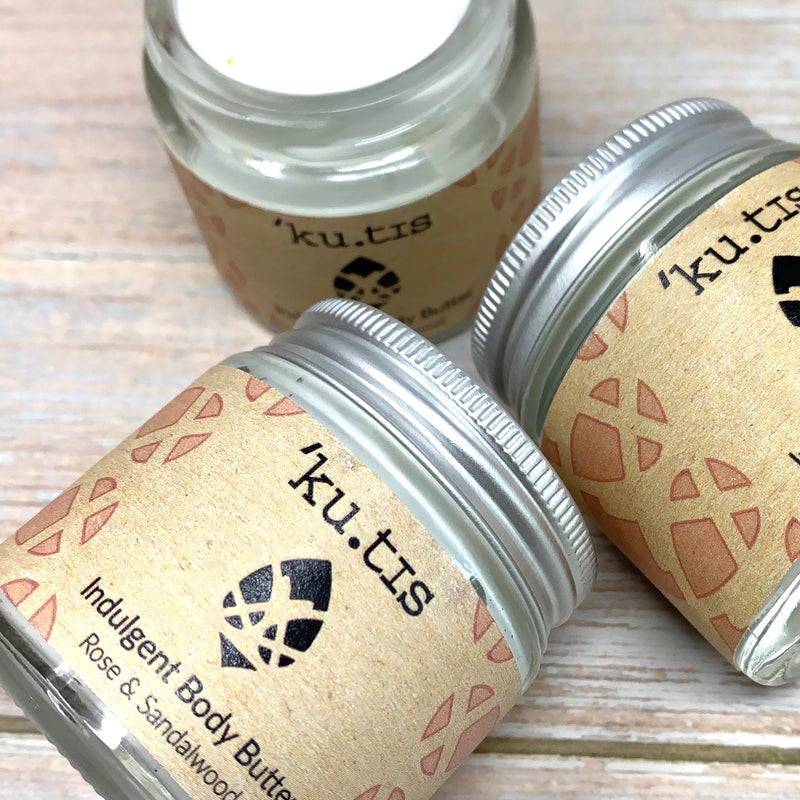 indulgent body butter in plastic free jars by kutis