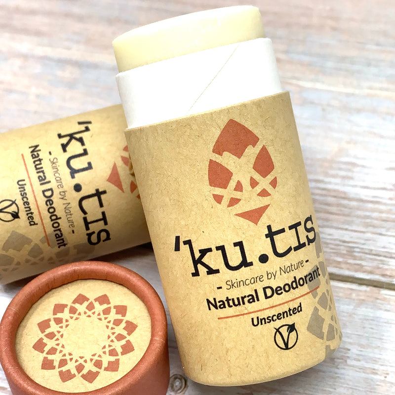 kutis vegan unscented deodorant stick in plastic free packaging made with cardboard