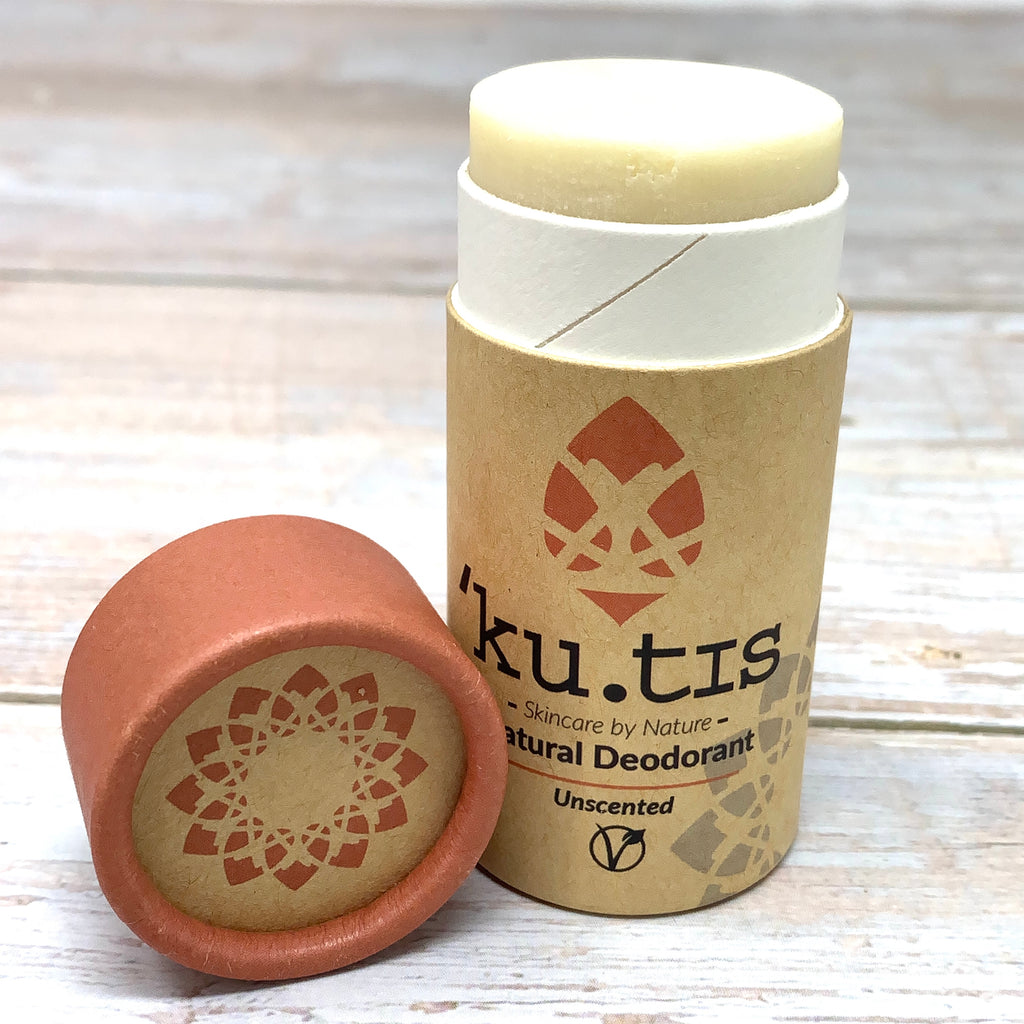 unscented natural deodorant by kutis in cardboard tube