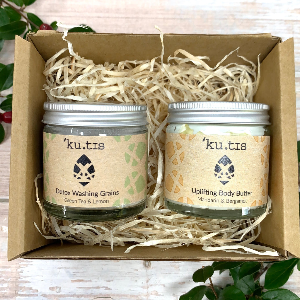 citrus kutis skincare washing grains and natural body butter gift set