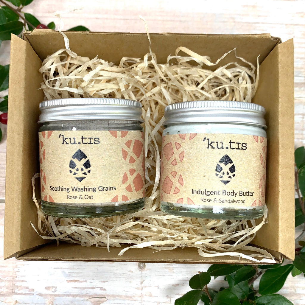rose scented kutis skincare gift set with rose and oats washing grains and natural rose and sandalwood body butter