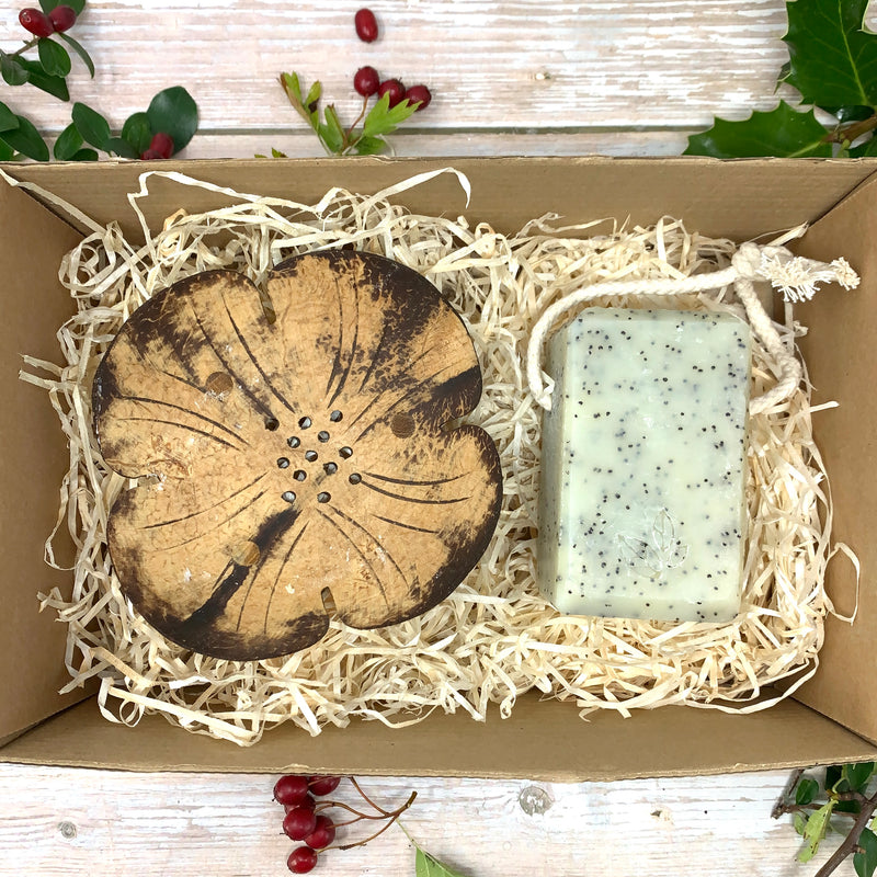 Soap on Rope and Coconut Dish Gift Set