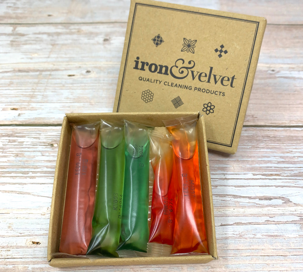 plastic free cleaning refills in soluble blisters by iron and velvet