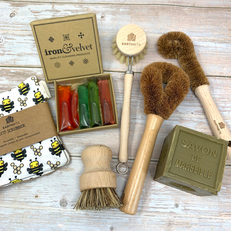 Plastic free cleaning set with olive marseille soap, compostable wooden brushes and bee scrubbers