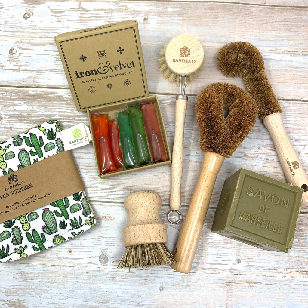 Plastic free cleaning set with olive marseille soap, compostable wooden brushes and cactus eco sponge
