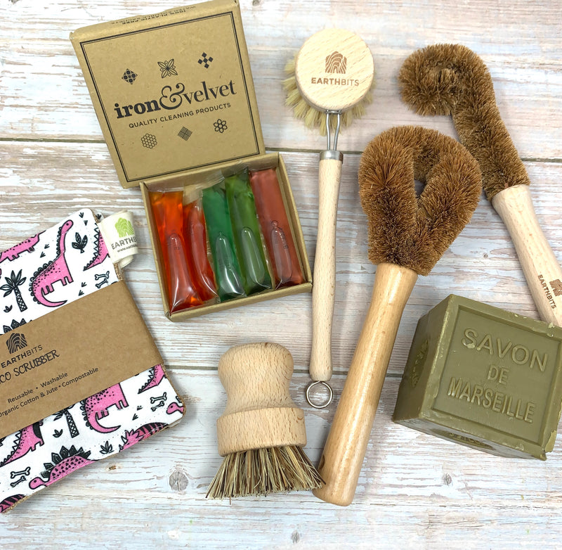 Plastic free cleaning set with olive marseille soap, compostable wooden brushes and dinosaur scrubbing set of 2 sponges
