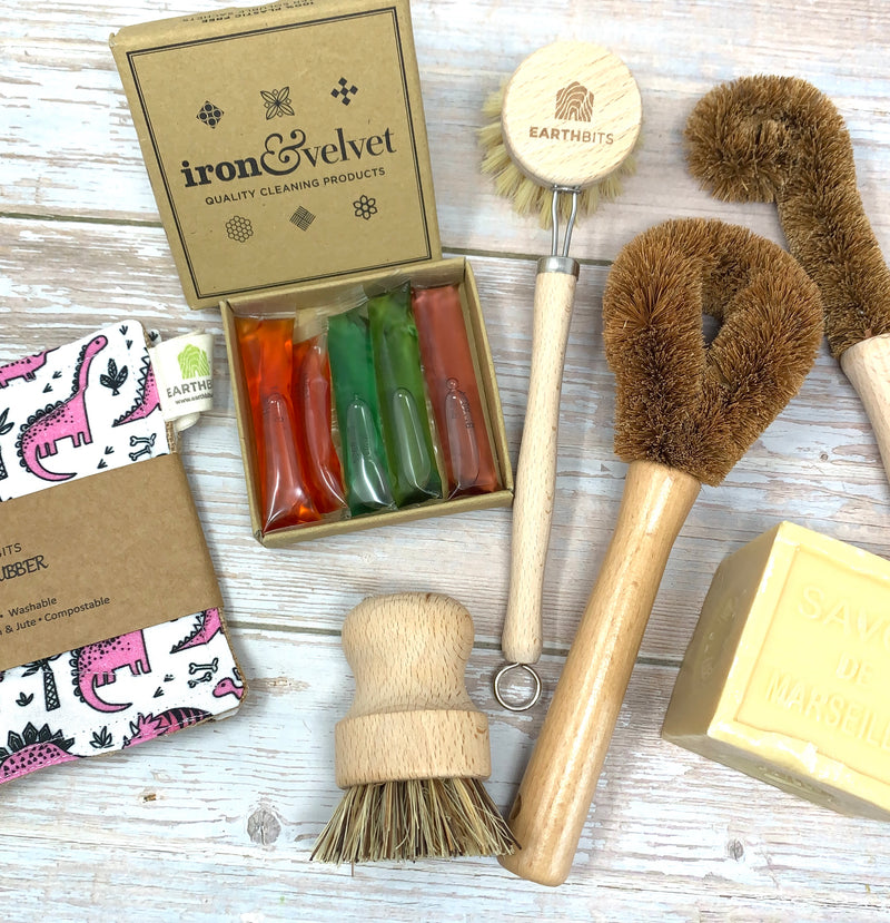 dino eco sponges, iron and velvet refill plastic free cleaning sachets. savon de marseille and set of earthbits cleaning brushes
