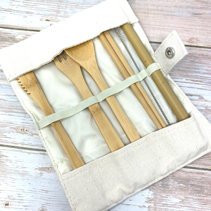 beige cotton pouch for reusable cutlery set made of bamboo