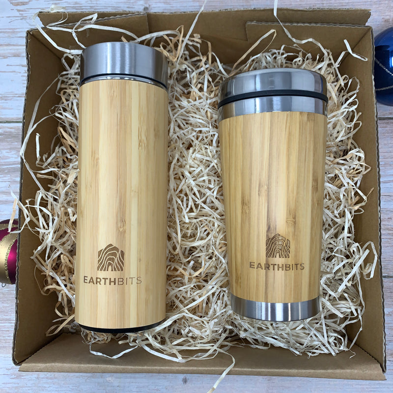 reusable tea cup and water bottle with bamboo casing