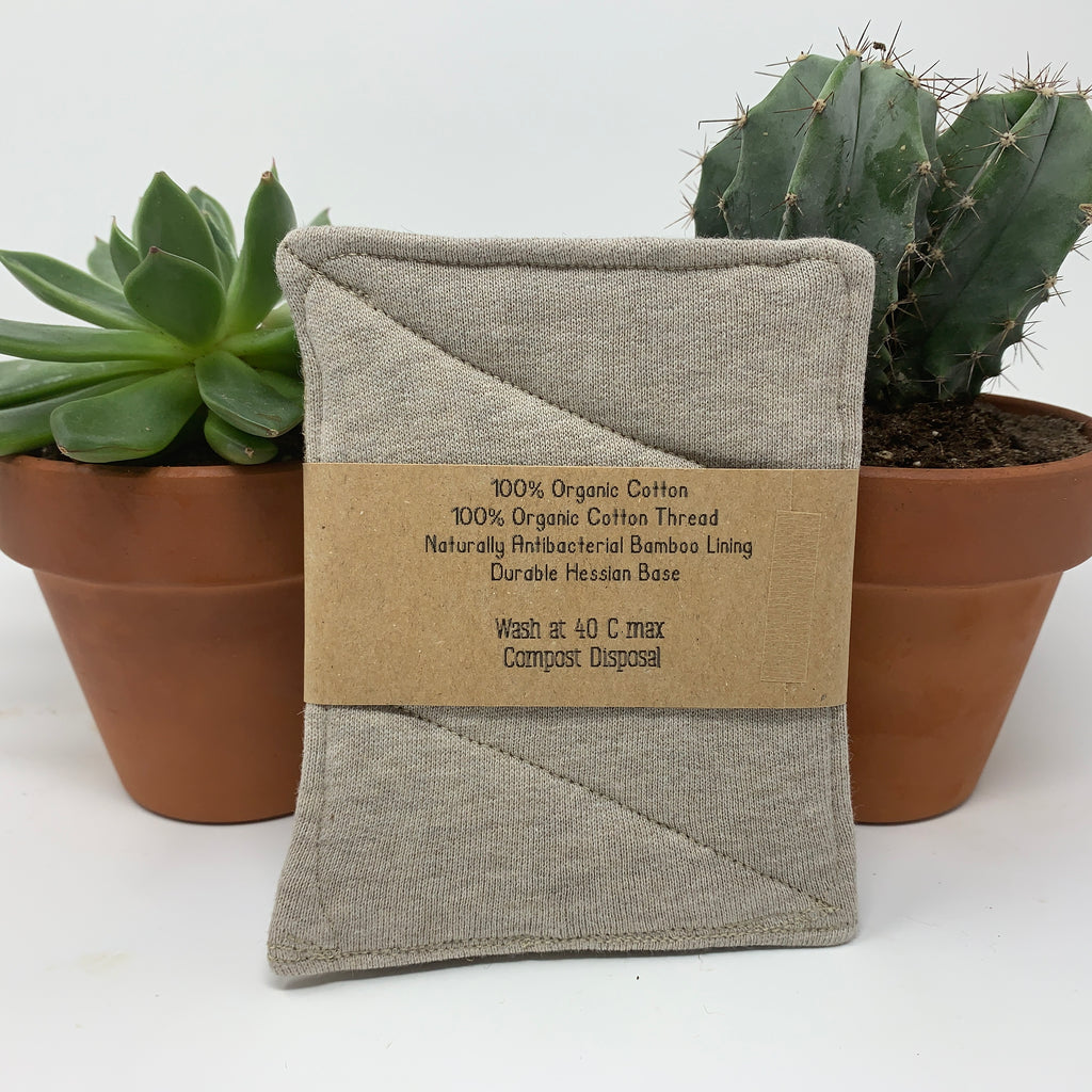 organic cotton hessian cleaning pads