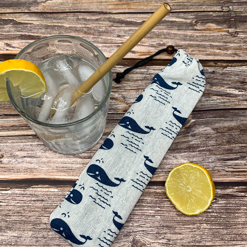 compostable straws in reusable cotton bag
