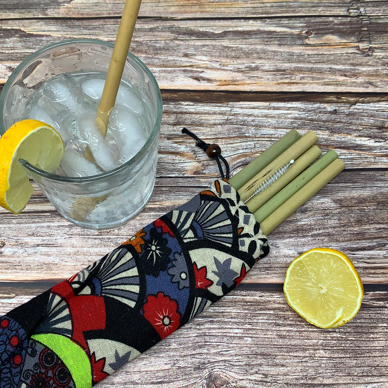 set of 5 reusable compostable straws
