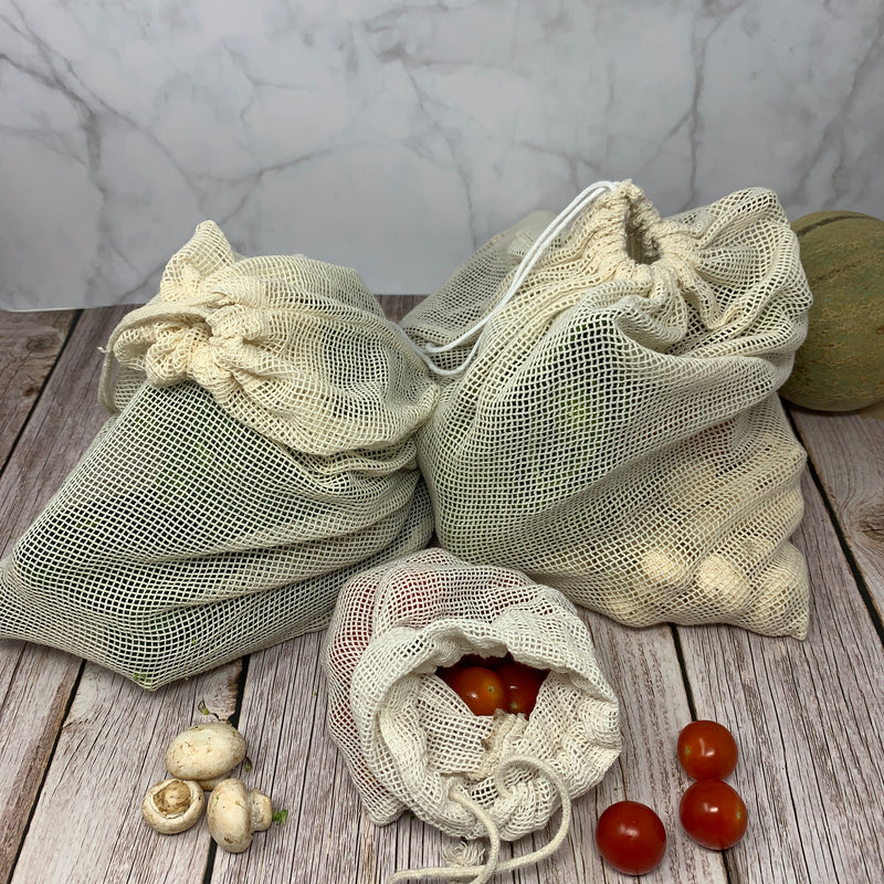 three sizes eco friendly produce bags