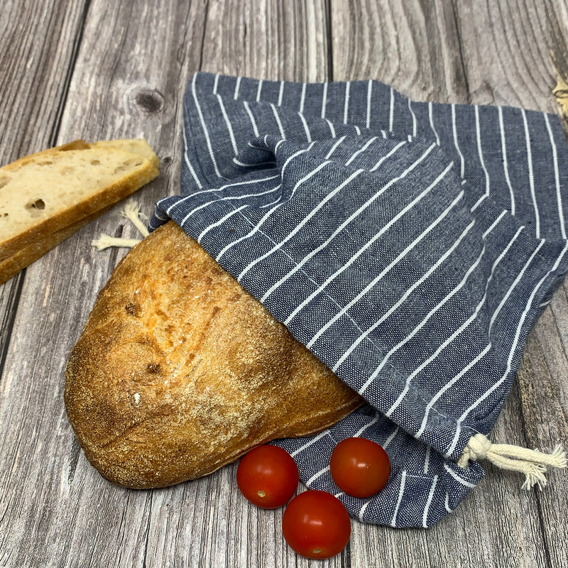 bread bag organic cotton blue