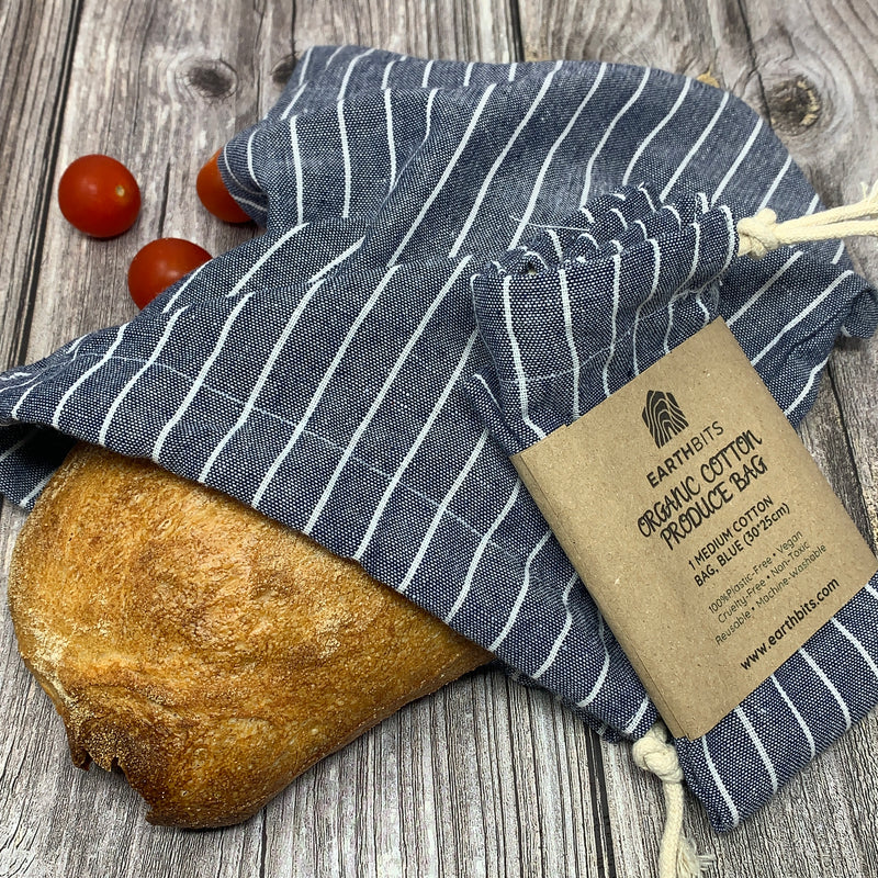organic cotton blue bag for bread