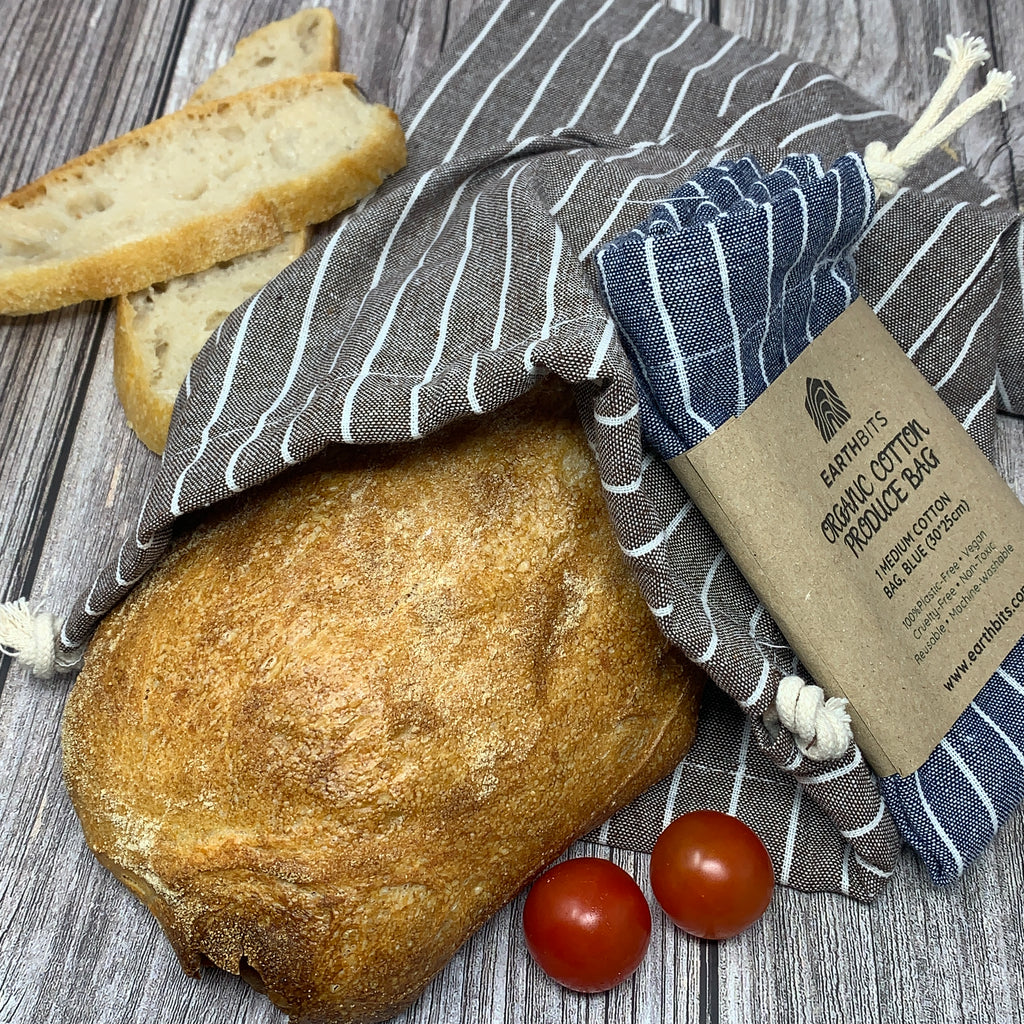 Organic Cotton Produce Bag,  Bread Bag, Medium and Large, Grey