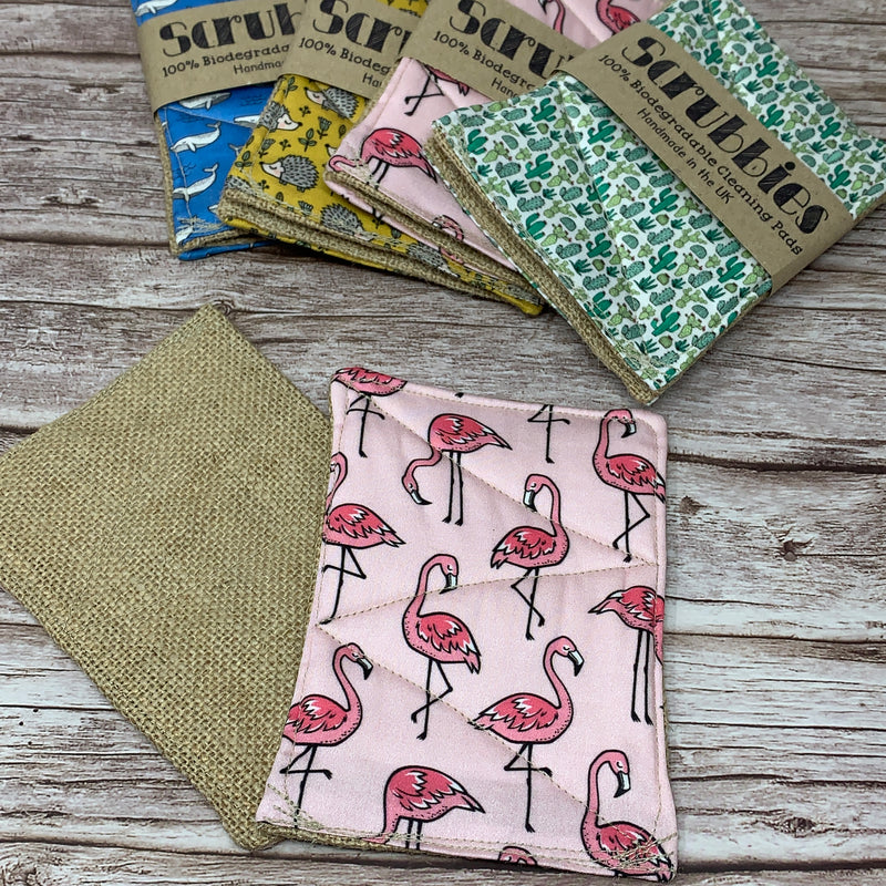 scrubbies eco friendly sponge flamingo