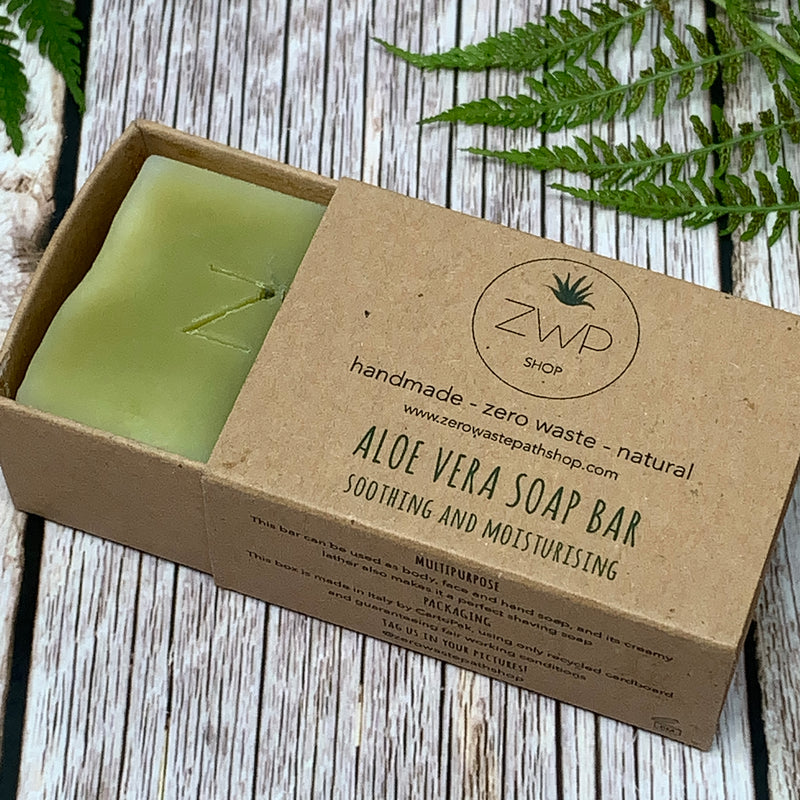 zero waste path aloe vera soap bar inside matchstick-style brown box