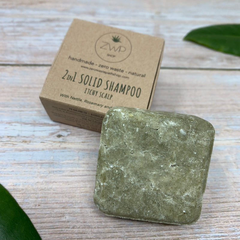 zero waste path green shampoo bar for itchy scalp next to its box