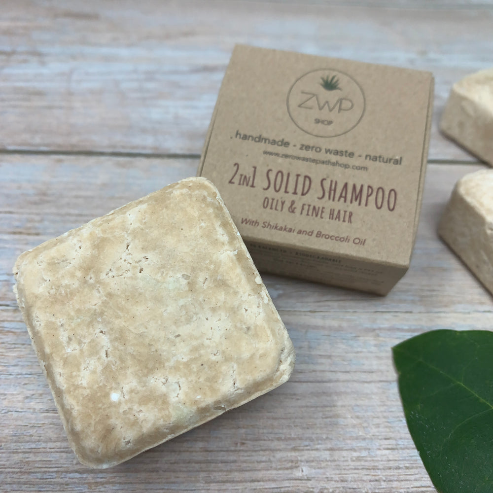 orange shampoo and conditioner solid bar with box for oily and fine hair and zero waste path logo