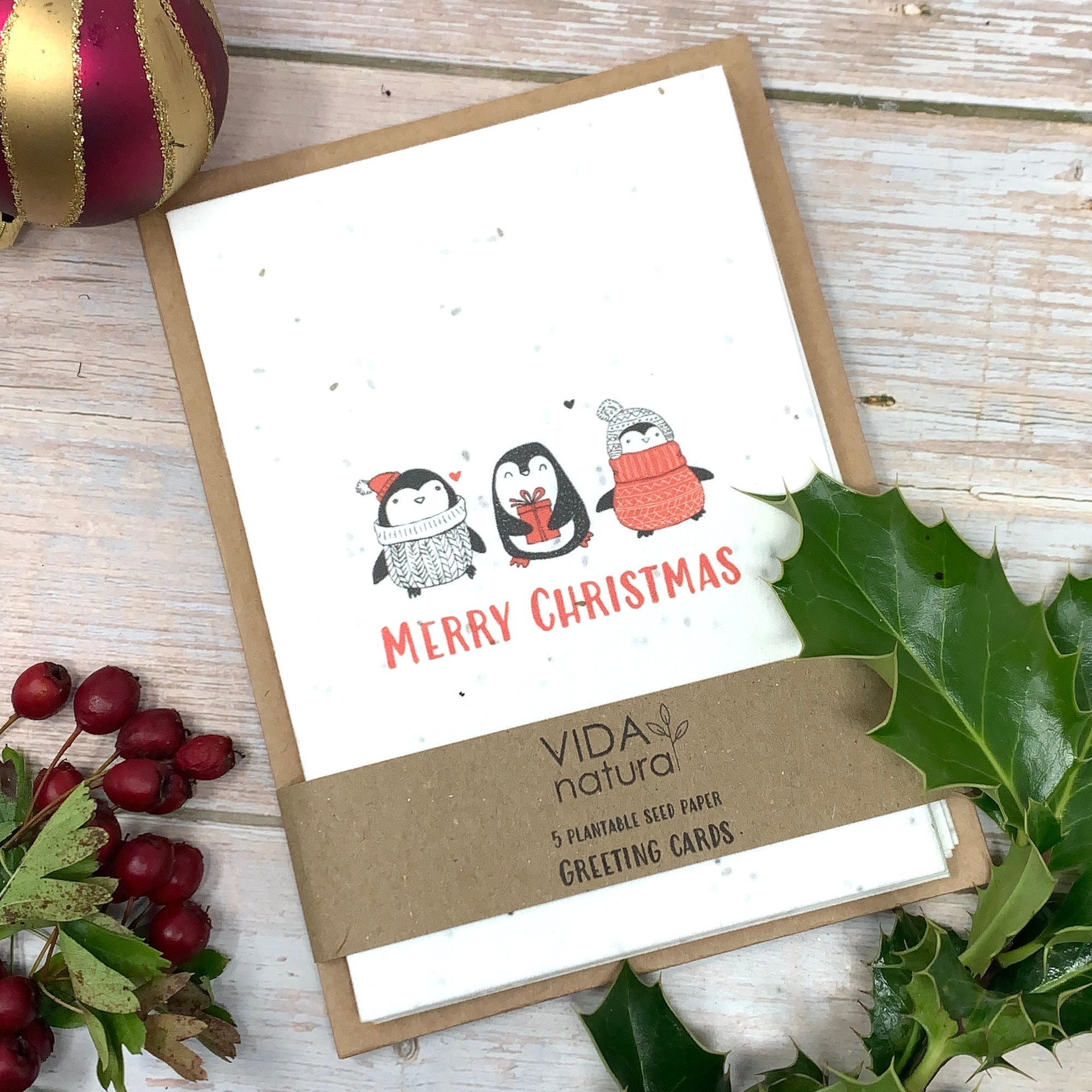 pack of 5 plantable christmas greeting cards with seeds to grow flowers