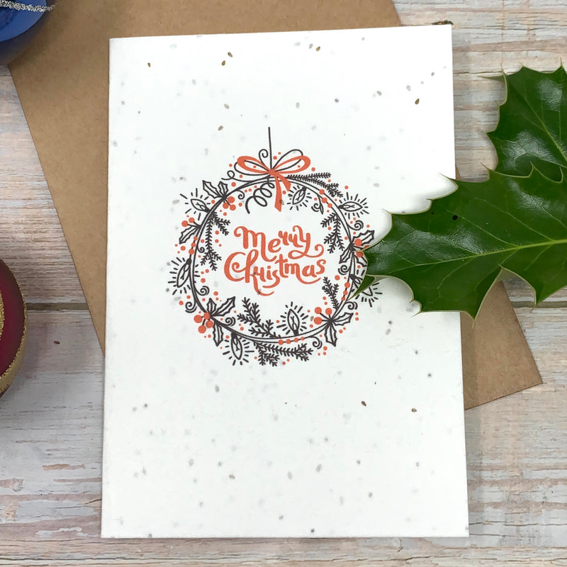 christmas wreath greeting card without plastic and made with recycled material and plantable seeded paper