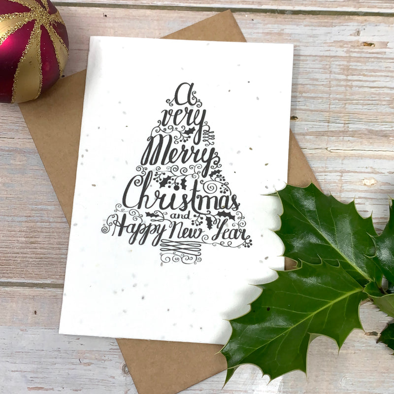 black and white christmas tree ecofriendly greeting card with brown recycled paper