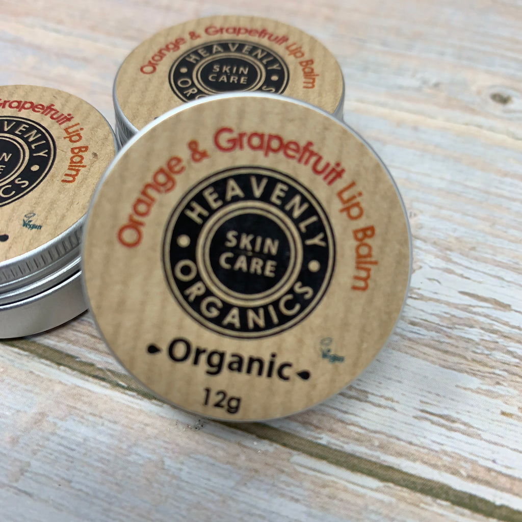 heavenly organics orange and grapefruit lip balm