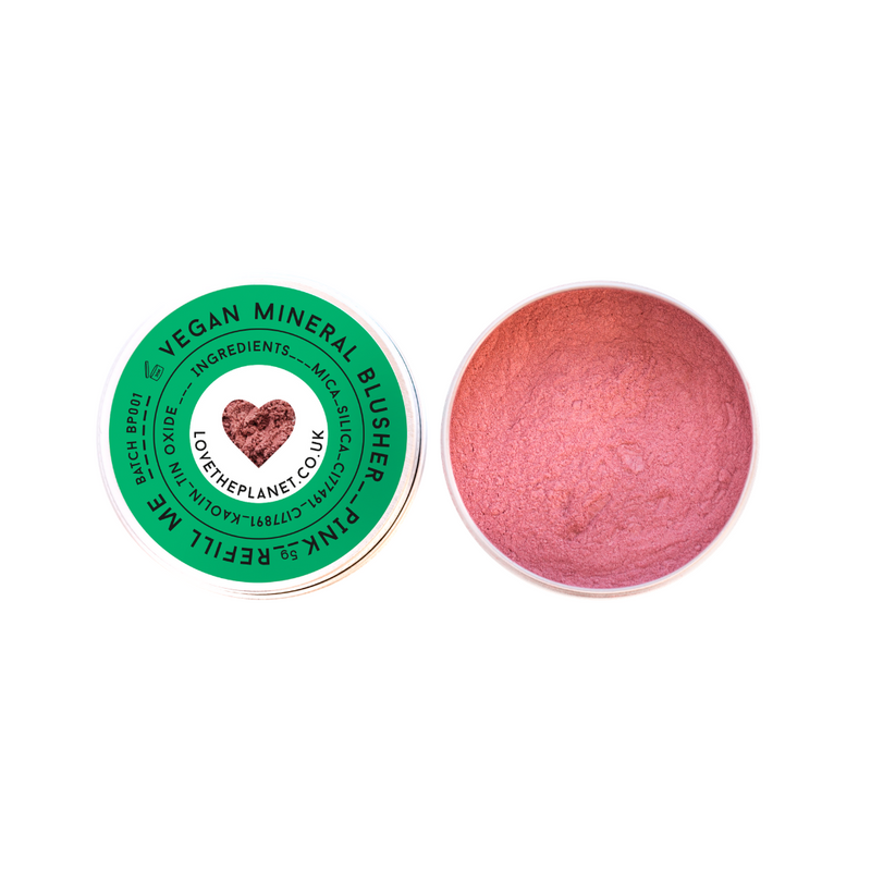 vegan mineral blusher pink by love the planet in reusable tin containers