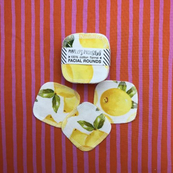 reusable make up pads lemon prints