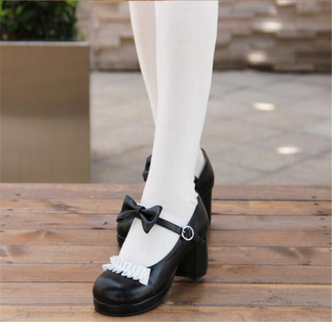 Japanese Lolita Student Shoes Princess Cute Low Hight Heel Red Black Bow Tie Cos Cosplay Woman Lace Shoes