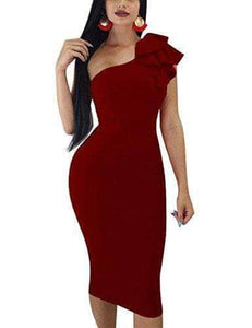 Red Wine One Shoulder Sleeveless Dress  WAS $47.99 NOW $33.99