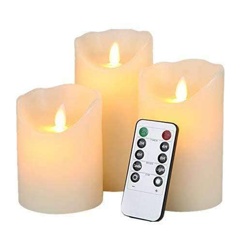 LED Flickering Flameless Candles - Set of 3 with remote control