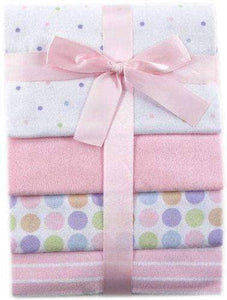 Flannel Blankets, Pink - 4 Count