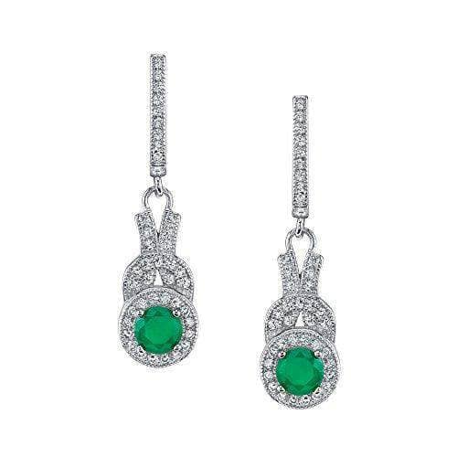 Silver Sterling Emerald Earrings