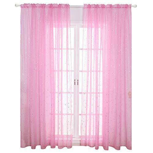 Girls Room Pink Window Sheer Pink Curtain 39 x 79 inch