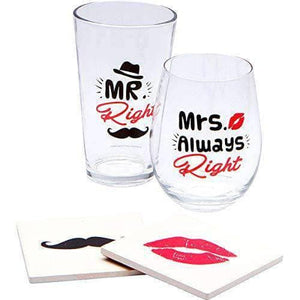 MR & MRS Always Right Gift Boxed Set - Glasses and Coasters Combo