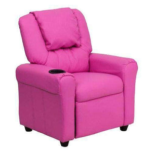 Contemporary Hot Pink Girls Recliner with Cup Holder and Headrest