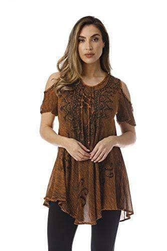 Shoulder Lace up Embroidered Tunic Top Blouse WAS $44.99 NOW $29.99