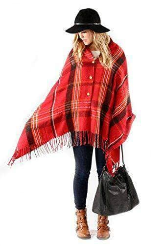 Plaid Button Blanket Scarf