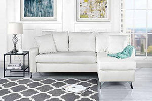 White Leather Sectional Sofa - Small Space Configurable Couch