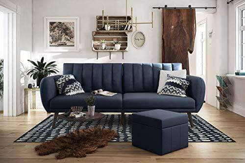 Modern Sofa Bed Futon - Navy Linen