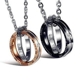 Couple Matching Set Titanium Stainless Steel Pendant Necklace