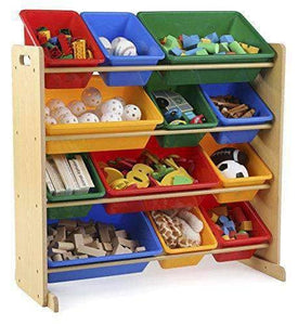 Kids' Toy Storage Organizer with 12 Plastic Bins