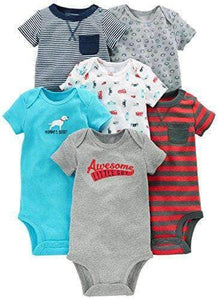 6 Assorted Short-Sleeve Bodysuit - 6 PACK - New Born to 24 Months - WAS $46.99 NOW $29.99