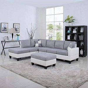 Two Tone Linen Fabric Leather Living Room Sectional Sofa