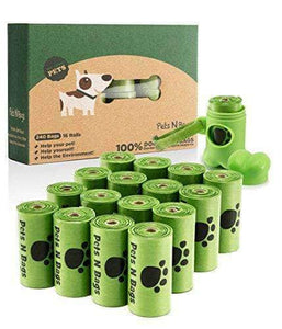 Pet Poop Bags, Environment Friendly Dog Waste Bags - 16 Rolls / 240 Count