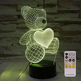 3D Night Lamp 7 Colors Changing Nightlight with Smart Touch & Remote Control