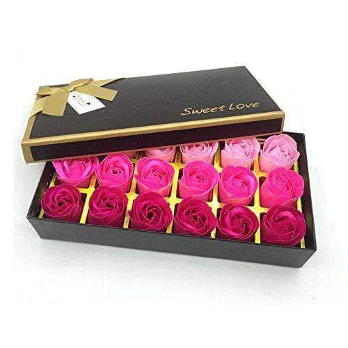 Floral Scented Rose Bath Soap Gift Box -  18 PCS
