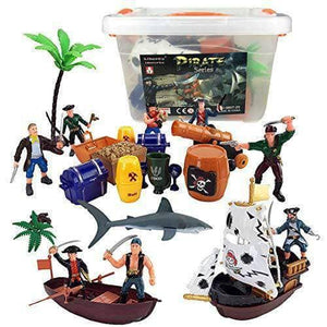 Bucket of Pirate Action Figures Toys - 24 PIECES - Age 3 to 9